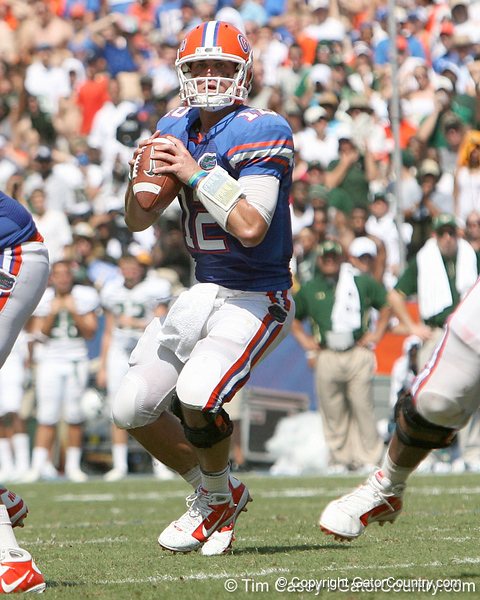 Florida redshirt junior quarterback John Brantley looks to pass during the second half of the Gators' 38-14 win against the South Florida Bulls on Saturday, September 11, 2010 at Ben Hill Griffin Stadium in Gainesville, Fla. / Gator Country photo by Tim Casey