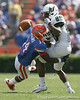 Florida freshman cornerback Jaylen Watkins breaks up a catch attempt by Stephen Bravo-Brown during the second half of the Gators' 38-14 win against the South Florida Bulls on Saturday, September 11, 2010 at Ben Hill Griffin Stadium in Gainesville, Fla. / Gator Country photo by Tim Casey