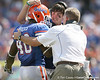 Florida senior linebacker Brandon Hicks gets congratulated by John Brantley and linebackers/ special teams coach D.J. Durkin  during the second half of the Gators' 38-14 win against the South Florida Bulls on Saturday, September 11, 2010 at Ben Hill Griffin Stadium in Gainesville, Fla. / Gator Country photo by Tim Casey