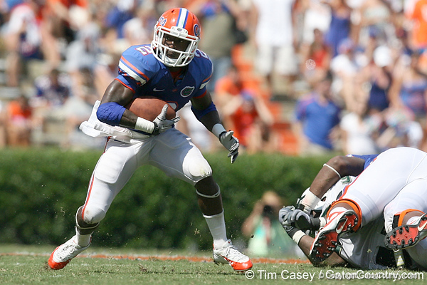 Florida junior running back Jeff Demps runs with the ball during the second half of the Gators' 38-14 win against the South Florida Bulls on Saturday, September 11, 2010 at Ben Hill Griffin Stadium in Gainesville, Fla. / Gator Country photo by Tim Casey