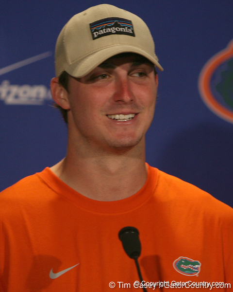 Florida redshirt junior quarterback John Brantley speaks to reporters after the Gators' 38-14 win against the South Florida Bulls on Saturday, September 11, 2010 at Ben Hill Griffin Stadium in Gainesville, Fla. / Gator Country photo by Tim Casey