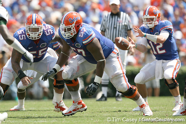 Florida senior center Mike Pouncey and redshirt senior guard Carl Johnson block during the second half of the Gators' 38-14 win against the South Florida Bulls on Saturday, September 11, 2010 at Ben Hill Griffin Stadium in Gainesville, Fla. / Gator Country photo by Tim Casey