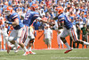 Florida redshirt sophomore fullback T.J. Pridemore blocks ahead of sophomore running back Mike Gillislee during the second half of the Gators' 38-14 win against the South Florida Bulls on Saturday, September 11, 2010 at Ben Hill Griffin Stadium in Gainesville, Fla. / Gator Country photo by Tim Casey