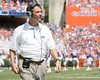 Florida head coach Urban Meyer looks at the video board during the second half of the Gators' 38-14 win against the South Florida Bulls on Saturday, September 11, 2010 at Ben Hill Griffin Stadium in Gainesville, Fla. / Gator Country photo by Tim Casey