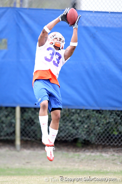 Florida freshman safety Jordan Haden works out during the Gators' first day of spring practice on Wednesday, March 17, 2010 at the Sanders football practice fields in Gainesville, Fla. / Gator Country photo by Tim Casey