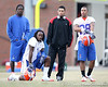 Wondy Pierre-Louis, Janoris Jenkins, Joe Haden and Jeremy Brown look on during the Gators' first day of spring practice on Wednesday, March 17, 2010 at the Sanders football practice fields in Gainesville, Fla. / Gator Country photo by Tim Casey