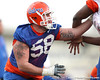Florida sophomore offensive lineman Nick Alajajian works out during the Gators' first day of spring practice on Wednesday, March 17, 2010 at the Sanders football practice fields in Gainesville, Fla. / Gator Country photo by Tim Casey