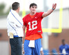 Florida head coach Urban Meyer talks with John Brantley during the Gators' first day of spring practice on Wednesday, March 17, 2010 at the Sanders football practice fields in Gainesville, Fla. / Gator Country photo by Tim Casey