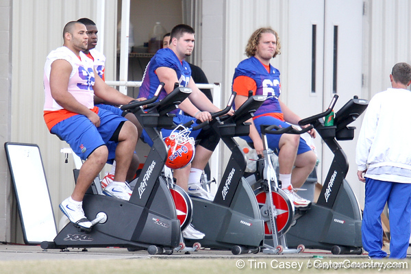 Terron Sanders, Leon Orr, Sam Robey and Cole Gilliam work out during the Gators' first day of spring practice on Wednesday, March 17, 2010 at the Sanders football practice fields in Gainesville, Fla. / Gator Country photo by Tim Casey