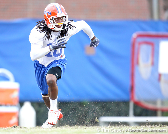 Florida junior safety Will Hill works out during the Gators' first day of spring practice on Wednesday, March 17, 2010 at the Sanders football practice fields in Gainesville, Fla. / Gator Country photo by Tim Casey