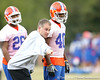Florida linebackers coach DJ Durkin coaches during the Gators' first day of spring practice on Wednesday, March 17, 2010 at the Sanders football practice fields in Gainesville, Fla. / Gator Country photo by Tim Casey