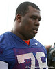 Florida redshirt senior offensive lineman Marcus Gilbert talks to reporters during the Gators' first day of spring practice on Wednesday, March 17, 2010 at the Sanders football practice fields in Gainesville, Fla. / Gator Country photo by Tim Casey