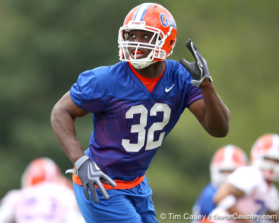 Florida freshman tight end Gerald Christian works out during the Gators' first day of spring practice on Wednesday, March 17, 2010 at the Sanders football practice fields in Gainesville, Fla. / Gator Country photo by Tim Casey