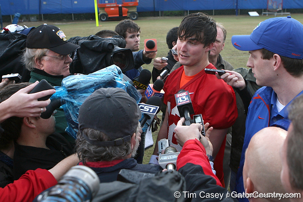 Florida redshirt junior quarterback John Brantley talks to reporters during the Gators' first day of spring practice on Wednesday, March 17, 2010 at the Sanders football practice fields in Gainesville, Fla. / Gator Country photo by Tim Casey