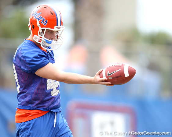 Florida redshirt sophomore punter David Lerner works out during the Gators' first day of spring practice on Wednesday, March 17, 2010 at the Sanders football practice fields in Gainesville, Fla. / Gator Country photo by Tim Casey