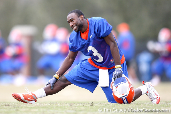 Florida redshirt junior running back Chris Rainey stretches during the Gators' first day of spring practice on Wednesday, March 17, 2010 at the Sanders football practice fields in Gainesville, Fla. / Gator Country photo by Tim Casey
