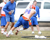 Florida senior defensive end Justin Trattou works out during the Gators' first day of spring practice on Wednesday, March 17, 2010 at the Sanders football practice fields in Gainesville, Fla. / Gator Country photo by Tim Casey