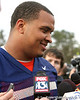 Florida senior offensive lineman Mike Pouncey talks to reporters during the Gators' first day of spring practice on Wednesday, March 17, 2010 at the Sanders football practice fields in Gainesville, Fla. / Gator Country photo by Tim Casey
