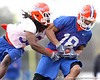 Florida redshirt sophomore wide receiver T.J. Lawrence catches a pass as Moses Jenkins defends during the Gators' first day of spring practice on Wednesday, March 17, 2010 at the Sanders football practice fields in Gainesville, Fla. / Gator Country photo by Tim Casey