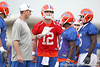 Florida quarterbacks coach Scot Loeffler goes over a play during the Gators' first day of spring practice on Wednesday, March 17, 2010 at the Sanders football practice fields in Gainesville, Fla. / Gator Country photo by Tim Casey