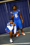 Florida Gator defensive linemen Dante Fowler, Jr. and Leon Orr pose for the camera during the 2014 Florida Gator Fan Day.  August 16th, 2014. Gator Country photo by David Bowie.