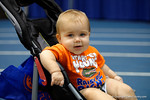 A baby Florida Gator fan smiles for the camera during the 2014 Florida Gator Fan Day.  August 16th, 2014. Gator Country photo by David Bowie.