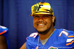 Florida Gator OL Max Garcia poses for the camera during the 2014 Florida Gator Fan Day.  August 16th, 2014. Gator Country photo by David Bowie.