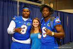 Florida Gator defensive linemen Dante Fowler, Jr. and Leon Orr pose with a fan during the 2014 Florida Gator Fan Day.  August 16th, 2014. Gator Country photo by David Bowie.