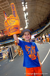 A young Florida Gator fan poses for the camera during the 2014 Florida Gator Fan Day.  August 16th, 2014. Gator Country photo by David Bowie.