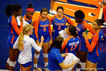 The Florida Gator volleyball team gathers during a timeout as they exhibition during the 2014 Florida Gator Fan Day.  August 16th, 2014. Gator Country photo by David Bowie.