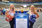 Two Florida Gator Dazzlers get fans as they walk into the arena during the 2014 Florida Gator Fan Day.  August 16th, 2014. Gator Country photo by David Bowie.