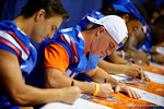 The Florida Gators meet, sign posters and take photos with the fans during the 2014 Florida Gator Fan Day.  August 16th, 2014. Gator Country photo by David Bowie.