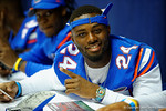 Florida Gator DB Brian Poole poses for the camera during the 2014 Florida Gator Fan Day.  August 16th, 2014. Gator Country photo by David Bowie.