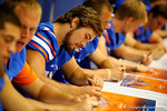 Florida Gator kicker Austin Hardin signs a poster for a fan during the 2014 Florida Gator Fan Day.  August 16th, 2014. Gator Country photo by David Bowie.