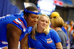 Florida Gator OL Trenton Brown takes a photo with a fan during the 2014 Florida Gator Fan Day.  August 16th, 2014. Gator Country photo by David Bowie.