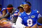 Florida Gator DL Leon Orr smiles for the fans during the 2014 Florida Gator Fan Day.  August 16th, 2014. Gator Country photo by David Bowie.