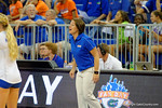 The Florida Gator volleyball team plays an exhibition game against each other during the 2014 Florida Gator Fan Day. Gator Country photo by David Bowie.
