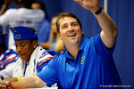Florida Gator Head Coach Will Muschamp smiles and waves at a fan during the 2014 Florida Gator Fan Day.  August 16th, 2014. Gator Country photo by David Bowie.