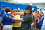 A Florida Gator fan showing his team spirit during the 2014 Florida Gator Fan Day.  August 16th, 2014. Gator Country photo by David Bowie.