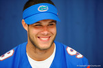 Florida Gator QB Jacob Guy smiling during the 2014 Florida Gator Fan Day.  August 16th, 2014. Gator Country photo by David Bowie.