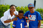 A few Florida Gator fans show off their best Coach Will Muschamp face during the 2014 Florida Gator Fan Day.  August 16th, 2014. Gator Country photo by David Bowie.