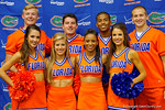 Some of the Florida Gator cheerleaders pose for the camera during the 2014 Florida Gator Fan Day.  August 16th, 2014. Gator Country photo by David Bowie.