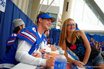 Florida Gator QB Jeff Driskel takes a photo with a fan during the 2014 Florida Gator Fan Day.  August 16th, 2014. Gator Country photo by David Bowie.