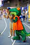 A Florida Gator fan gets a kiss on the cheek for Alberta during the 2014 Florida Gator Fan Day.  August 16th, 2014. Gator Country photo by David Bowie.