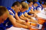 Florida Gator punter Kyle Christy signs a poster for a fan during the 2014 Florida Gator Fan Day.  August 16th, 2014. Gator Country photo by David Bowie.