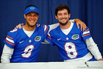 Florida Gator quarterbacks Jacob Guy and Skyler Mornhinweg smile for the camera during the 2014 Florida Gator Fan Day.  August 16th, 2014. Gator Country photo by David Bowie.