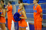 A Florida Gator cheerleader cheers on during the Gator women's volleyball exhibition during the 2014 Florida Gator Fan Day.  August 16th, 2014. Gator Country photo by David Bowie.