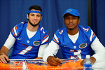 Florida Gator freshmen QBs Will Grier and Treon Harris smile for the camera during the 2014 Florida Gator Fan Day.  August 16th, 2014. Gator Country photo by David Bowie.