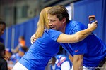 Florida Gator Head Coach Will Muschamp gives a fan a hug during the 2014 Florida Gator Fan Day.  August 16th, 2014. Gator Country photo by David Bowie.