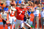 Florida QB Will Grier throws quickly to the flat.  2014 Orange and Blue Debut.  April 12th, 2014. Gator Country photo by David Bowie.